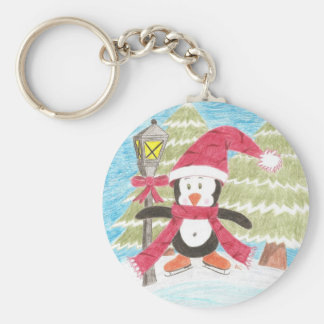 Ice skating penguin penguin round button keychain
