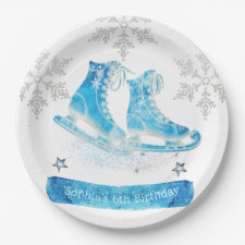 Ice Skating Personalized Birthday Paper Plate