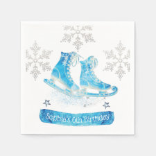 Ice Skating Personalizes Glitter Napkins