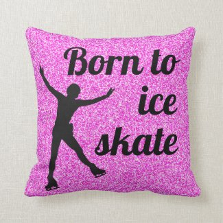 Ice skating pillow - Pink Born to ice skate