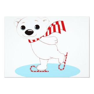 Ice Skating Polar Bear on Candy Cane Skates Card