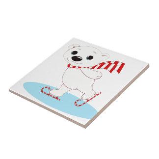 Ice Skating Polar Bear on Candy Cane Skates Small Square Tile