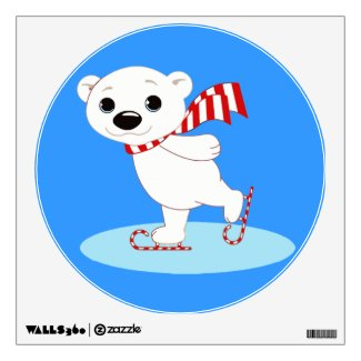 Ice Skating Polar Bear on Candy Cane Skates Wall Stickers
