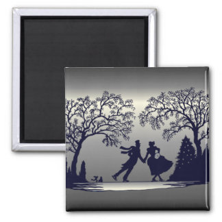 Ice Skating Pond - Silhouette 2 Inch Square Magnet