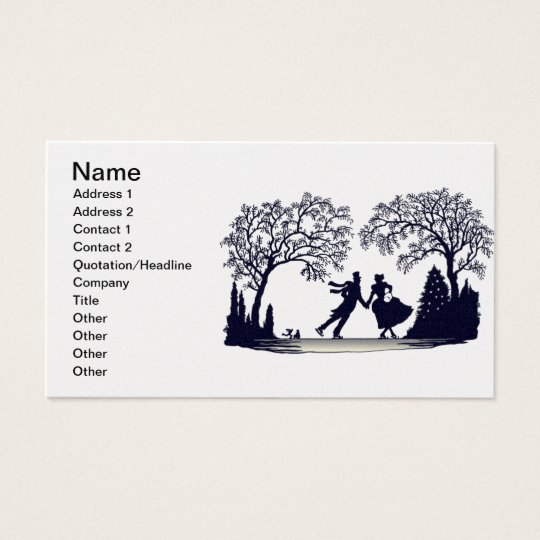 Ice Skating Pond - Silhouette Business Card