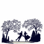 Ice Skating Pond - Silhouette Photo Statuette