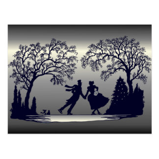 Ice Skating Pond - Silhouette Postcard