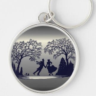 Ice Skating Pond - Silhouette Silver-Colored Round Keychain