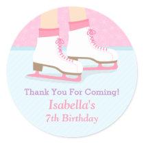 Ice Skating Rink Girls Birthday Party Decor Classic Round Sticker