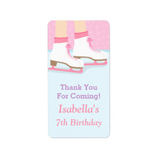 Ice Skating Rink Girls Birthday Party Decor Labels