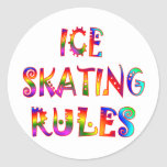 Ice Skating Rules Round Stickers
