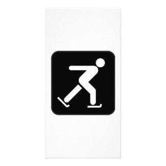 Ice Skating Sign Custom Photo Card