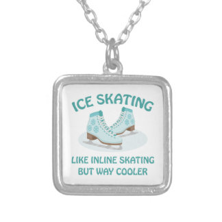 Ice Skating Silver Plated Necklace