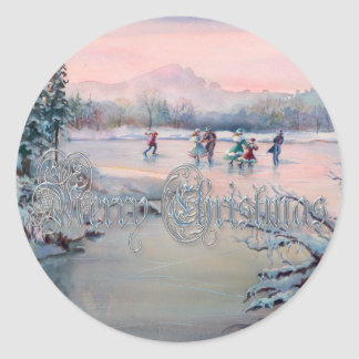 ICE SKATING & SNOWFLAKES 2 by SHARON SHARPE Classic Round Sticker