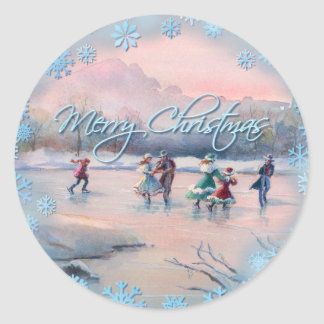 ICE SKATING & SNOWFLAKES by SHARON SHARPE Classic Round Sticker