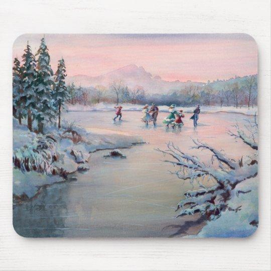 ICE SKATING & SNOWFLAKES by SHARON SHARPE Mouse Pad
