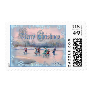 ICE SKATING & SNOWFLAKES by SHARON SHARPE Postage
