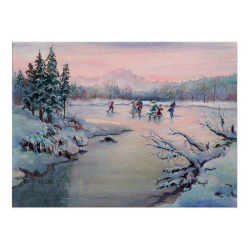 ICE SKATING & SNOWFLAKES by SHARON SHARPE Poster