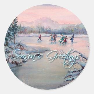ICE SKATING & SNOWFLAKES by SHARON SHARPE Round Sticker