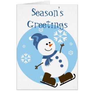 Ice Skating Snowman Card