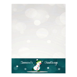 Ice Skating Snowman Christmas Letter Paper