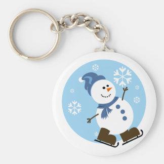 Ice Skating Snowman Keychain