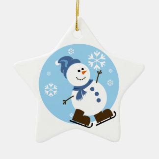 Ice Skating Snowman Ornament