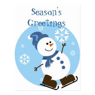 Ice Skating Snowman Postcard