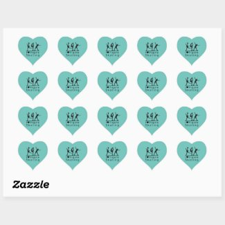 Ice skating sticker - Turquoise heart