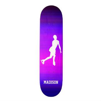 Ice Skating; Vibrant Violet Blue and Magenta Skateboard Deck