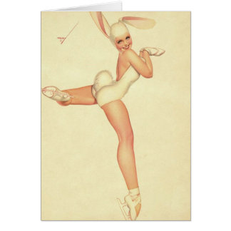 Ice-Skating Vintage Pinup in Rabbit Costume Cards