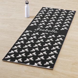 Ice skating yoga mat skate pattern black white
