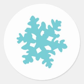 ice snow flake - snowflake classic round sticker