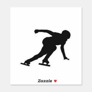 Ice speed skating - sticker (black)