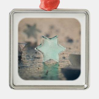 Ice star square metal christmas ornament