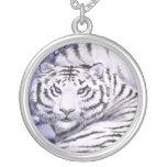 Ice Tigers Round Pendant Necklace