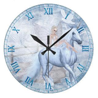 Ice Unicorn and Faerie Wall Clock
