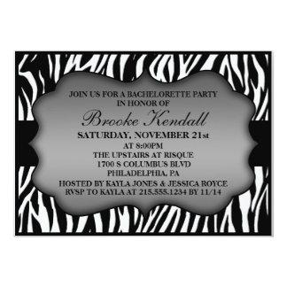 Ice White Wild Night Zebra Bachelorette Party 5x7 Paper Invitation Card