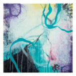 Ice Wind - Square Blue & Purple Abstract Art Poster