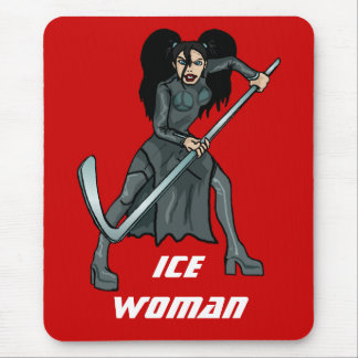 ice woman hockey player playing lady girl woman mouse pad