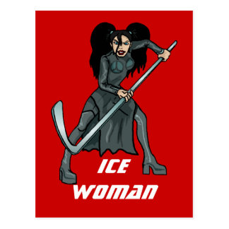 ice woman hockey player playing lady girl woman post card