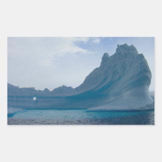 Iceberg antártico pegatina rectangular