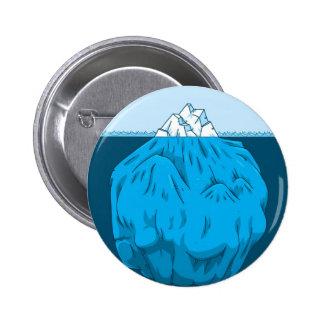 Iceberg del dibujo animado debajo del agua pin redondo 5 cm