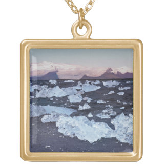 Iceberg formation on the beach square pendant necklace