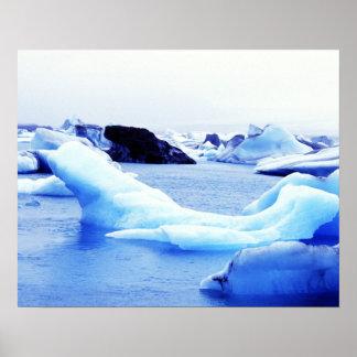 Icebergs at Jokulsarlon Lagoon Poster