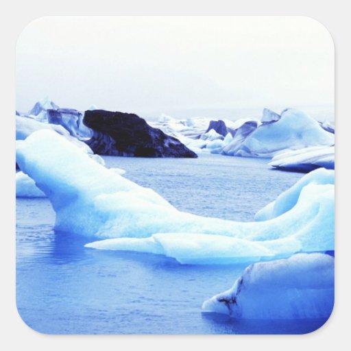 Icebergs en la laguna de Jokulsarlon Calcomanía Cuadrada