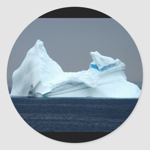 Icebergs en Terranova Pegatina Redonda