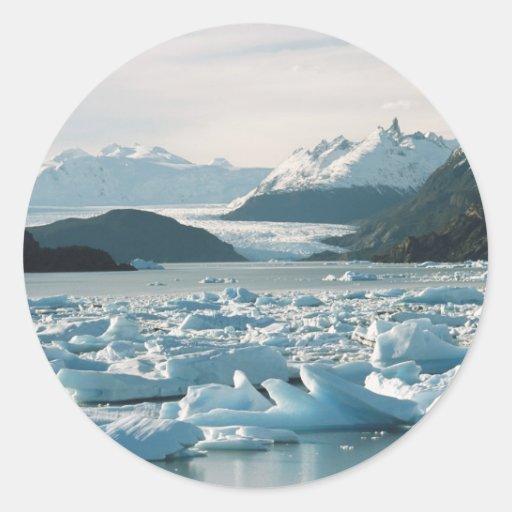 Icebergs glaciales pegatina redonda