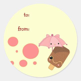 icecream little cute classic round sticker