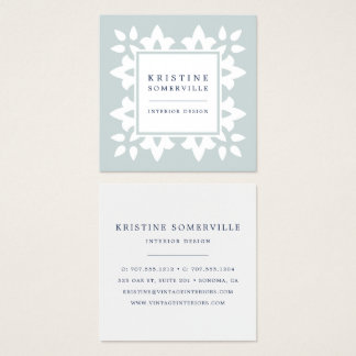 Iced Aqua | Moroccan Geometric Square Square Business Card